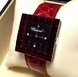 CHOPARD BE MAD Ladies Watch w FACTORY DIAMONDS Red Chopard Leather Band In BOX