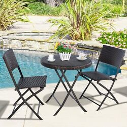Garden 3Pcs Folding Round Table&Chair Bistro Set Rattan Wicker (1Table &2Chairs)