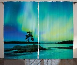 Nature Curtains Rocky Stone by River Window Drapes 2 Panel Set 108x90 Inches