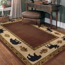 8x11 Designer Lodge Cabin Rustic Bear Moose Fish Wine Brown Decor Area Rug