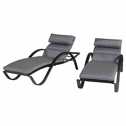 RST Brands Deco Chaise Lounges with Cushions Charcoal Grey