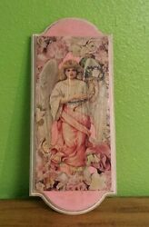 Vintage Folk Handmade Decoupage Art: Angel and Flowers (Shabby Chick She Shed)