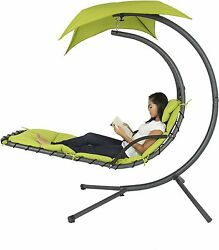 Outdoor Hanging Chaise Lounger Patio Canopy Swing Lounge Chair Furniture