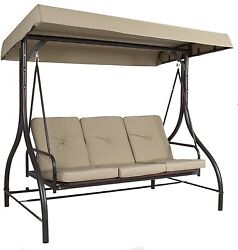 Outdoor Patio Porch Backyard 3 Seat Person Canopy Cover Swing Furniture