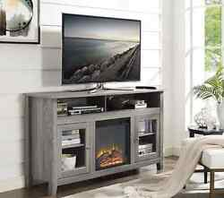 Electric Fireplace TV Stand Entertainment Center Heater Gray Driftwood Flames