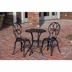Wrought Iron Patio Set Bistro Dining Table Chair Outdoor Garden Furniture Bronze