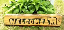 Wood Log Bear Welcome Sign Camp Cabin Home Decor Woodsy Rustic Large 26