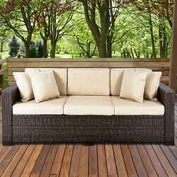 Outdoor Wicker Patio Furniture Sofa 3 Seat Luxury Comfort Brown Couch Furniture