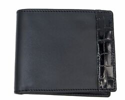 BRIONI Men's Black Leather And Alligator Bifold Classic Italian Made Wallet