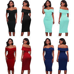 Fold Over Wrap Low Shoulder Style Sexy Figure Hugging Bodycon Midi Summer Dress  $21.64