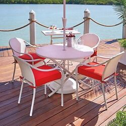 White Resin Wicker 5 Piece Outdoor Dining Set Table Chairs Patio Furniture