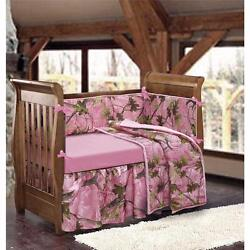 Pink Brown Green Camo Camouflage 4-PC Baby Girl Crib Bedding Set wBumpers