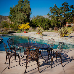 Patio Furniture Dining Set 7 Piece Table Aluminum Outdoor Seating Copper Finish