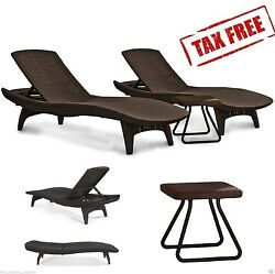 Chaise Lounge Chairs and Side Table Keter Patio Brown Rattan Outdoor Lounger Set