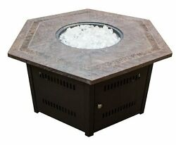 Brand New Hiland Fire Pit Hexagon with Slate Table Large