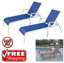 Outdoor Chaise Lounge Chairs SET OF 2 Patio Furniture Steel Adjustable Loungers