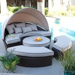 Wicker Sectional Daybed Outdoor Patio Furniture Lounge Pool Loveseat Ottoman New