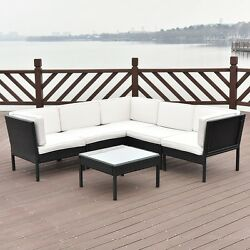 6Pcs Outdoor Luxury Angle Rattan Patio Sectional Sofa Comfortalbe Furniture