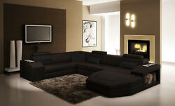 Factory Direct Modern Sectional Sofa Black Bonded Leather