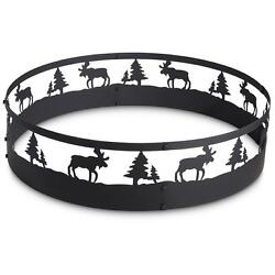 Large Camp Fire Ring Moose Design Portable Outdoor Camping Pit Hunting Wood Coal