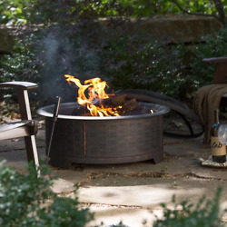 """Fire Pits Wood Burning Patio Furniture Outdoor Round Firepit Spark Screen 30"""" D"""