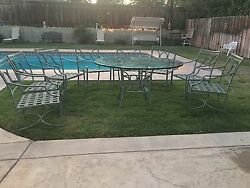 VINTAGE  BROWN & JORDAN PATIO SET 8 CHAIRS AND TABLE WITH GLASS TOP