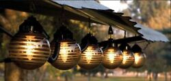 Polymer Products Black And Etched Bronze Six Globe String Deck Patio Light Set
