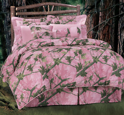 Full 7-PC PINK Camo Comforter Set Rustic Camouflage Print Timber Tree Bedding