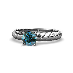 Blue Diamond Solitaire Rope Engagement Ring 1.00 ct in 14K White Gold JP:118991