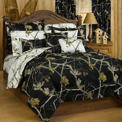 Queen Camo Comforter Realtree Bedding Set Black Camouflage Shams Reversible Hunt