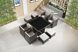High Living Modern Outdoor Patio Reception OutdoorIndoor Dining Table Set