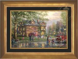 Thomas Kinkade Hometown Firehouse 18 x 27 LE EE Canvas Framed