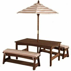 Outdoor Table And Chairs Set Patio For Kids With Umbrella Cushions Brown Stripes