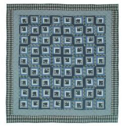 Patch Magic Blue Log Cabin Luxury King Quilt 120-Inch by 106-Inch