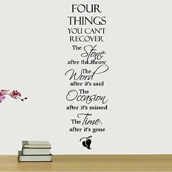 FOUR THINGS YOU CAN#x27;T RECOVER Removable Home Wall Decal Vinyl Quote Decor $9.95