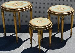 3-Vintage Gilt Gilded French Provincial Style Gold Occasional Tables Rose Decor