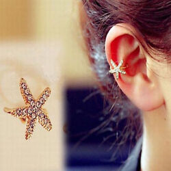 1pc Starfish Sea Star Clip on Cuff Cartilage Earring Pierceless Gold Tone Flower $5.99