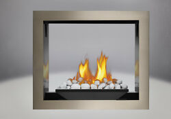 NAPOLEON HD81 SEE-THRU GAS FIREPLACE AS PICTURED w RIVER ROCKS 2-SIDED 60K BTU