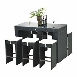 7 Pc Black Wicker Rattan Bar Height Table & Chairs Set Outdoor Patio Furniture