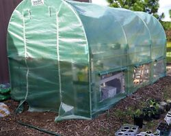 Quictent Reinforced PE Cover 12 X 7 X 7 Portable Greenhouse Large Walk-in Green