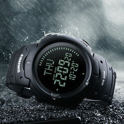 Men Compass Watch Countdown LED Digital Wrist Watches Outdoor Military Black