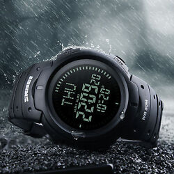 Men Compass Watch Countdown LED Digital Wrist Watches Outdoor Military Black $16.71