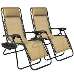 2 X Zero Gravity Chairs Lounge Chaise Patio Outdoor Furniture Beach Lounger New