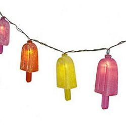 Glitter Popsicle Plastic Patio Battery String Lights 10 Count 65