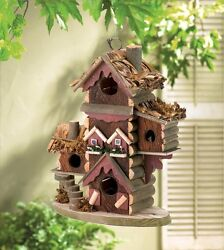 Rustic Gingerbread Style Bird House Outdoor Garden Decor