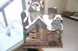 Christmas Village Large Ceramic Cabin House Snow Holiday Decorations Log Walls