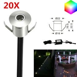 20Pcs 22mm 12V LED Deck Rail Lights Outdoor Yard Patio Step Driveway Lighting