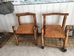 Pair of Two Rustic Log Chairs ~ 1 with Bear Cub Design ~ EUC