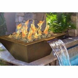 Outdoor Backyard Deck HPC 40 Inch Copper Bowl LP Gas Fire Pit Water Scupper NEW