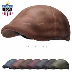 Vintage Leather Solid Gatsby Cap Mens Ivy Hat Golf Driving Flat Cabbie Newsboy $14.99